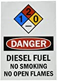 "SmartSign Adhesive Vinyl Label, Legend ""Danger: Diesel Fuel No Smoking No Open Flames"", 10"" high x 7"" wide, Black/Red on White"