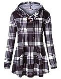 Tanst Womens Long Sleeve Plaid Hoodie Sweatshirts Tunic with Kangaroo Pocket