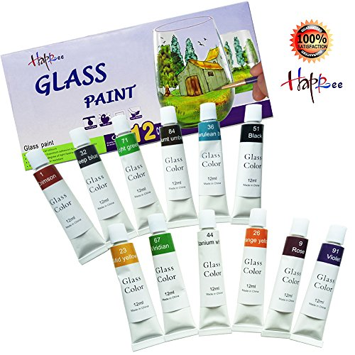 Happlee 12 Cols Glass Paint, Transparent Glass Painting Supplies for Glass, Porcelain, Window, Stone 12x12ml(0.41 fl.oz)