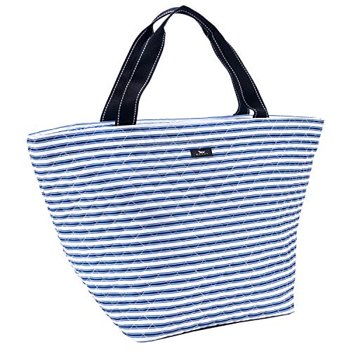 SCOUT Weekender Travel Tote Carry On Bag, Internal Zippered Pouch, Water Resistant, Zips Closed, Stripe Right by SCOUT