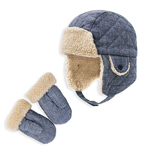 Keepersheep Baby Boy Ushanka Earflap Winter Trooper Hat Cap, Kids Trapper Hat (Denim Blue with Mittens, 12-24 Months)