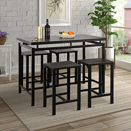 Harper&Bright Designs 5-Piece Counter Height Table Set/Dining Table with 4 Chairs (Espresso) - Espresso 4 Piece