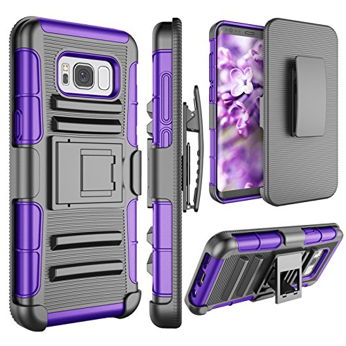 Samsung S8 Case, Galaxy S8 Holsters Clips Case, Jeylly [Belt Clip] Built-in Kickstand [Purple] Heavy Duty Full Body Shock Absorbing Hard Rugged Case Shield for Samsung Galaxy S8 SVIII (5.8 inch) G950T