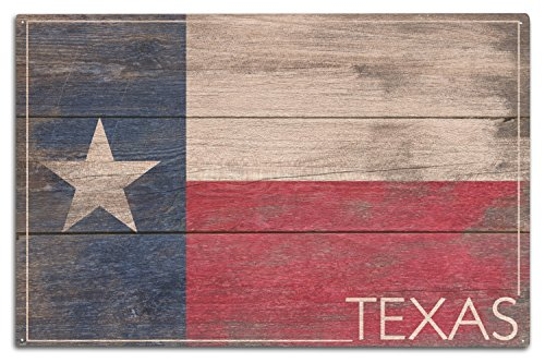 Lantern Press Rustic Texas State Flag (10×15 Wood Wall Sign, Wall Decor Ready to Hang)