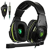 New SADES SA938 3.5mm Wired Stereo Sound Multi-Platform Gaming Headset Over Ear Gaming Headphone With Mic Volume Control Noise Canceling for New Xbox One,PC,PS4 and phones(blackgreen)