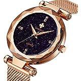 WWOOR Women's Watch Fashion Star Watch Analog Quartz Watches with Stainless Steel Mesh Band Waterproof Wristwatch Casual Gift Watch Ladies (Rose Gold)