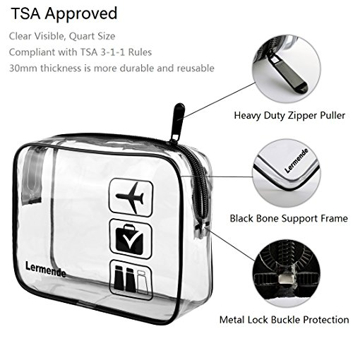3pcs Lermende TSA Approved Toiletry Bag with Zipper Travel Luggage Pouch Carry On Clear Airport Airline Compliant Bag Travel Cosmetic Makeup Bags - Black by Lermende (Image #2)