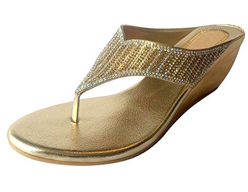 Step n Style Women Shoes Diamante Silver Gold Bridal Sandals Slip On Wedge Indian Ethnic Shoes Gold Antique ELjKiG