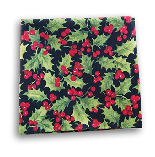 Black Red Green Fat Quarter Craft Fabric Piece (Holly Berry Leaves) ()