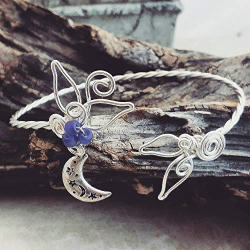 (Moon and Stars Celestial Cuff Bracelet Sculpted Wire )