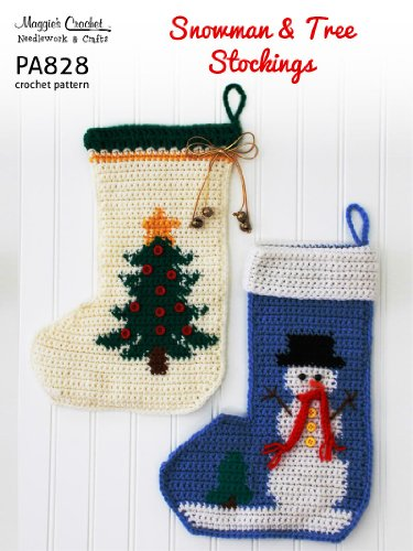 Crochet Pattern Snowman and Christmas Tree Stockings PA828-R