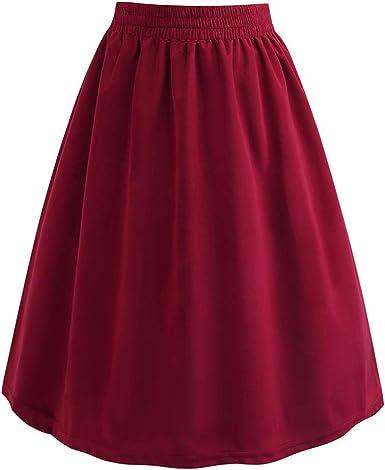 Faldas de Fiesta para Mujer, Falda de Cintura elástica de Moda con ...