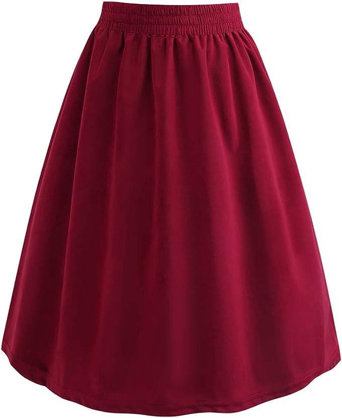 Midi Faldas para Mujeres Color Sólido BIBOKAOKE Falda Larga Floja ...