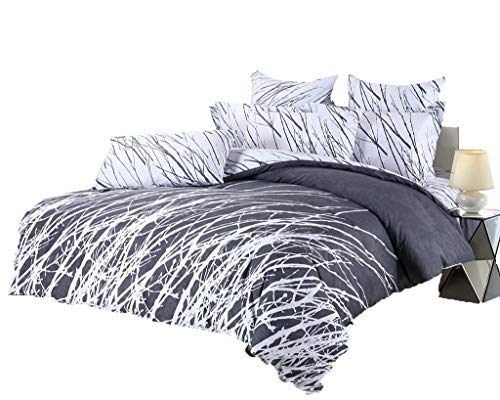 Swanson Beddings Tree Branches 5-Piece 100% Cotton Bedding Set: Duvet Cover, Two Pillow Shams Two Euro Shams (Grey-White, King)
