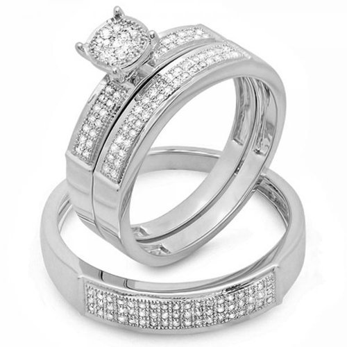 0.33 Carat (ctw) Sterling Silver Round White Diamond Men & Women's Micro Pave Engagement Ring Trio Bridal Set 1/3 CT by DazzlingRock Collection