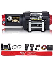 TYT 3000 lb. Advanced Load ATV/UTV Electric Winch Kits, 12V Steel Cable Winch for ATV UTV Boat Towing Off Road, Waterproof IP67 Recovery Winch with 2 Wireless Remotes and Winch Mounting Plate