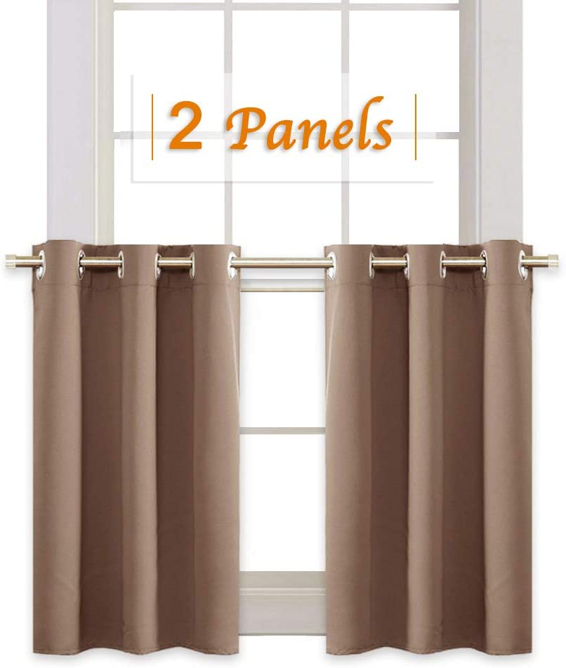 RYB HOME Blackout Window Covering Privacy Drapes for Bath, Half Window Blinds Tiers Sunlight Shades for Nursery / Cafe Shop / Cabinet, Wide 42 inch x Long 36 inch, Mocha, 2 Panels