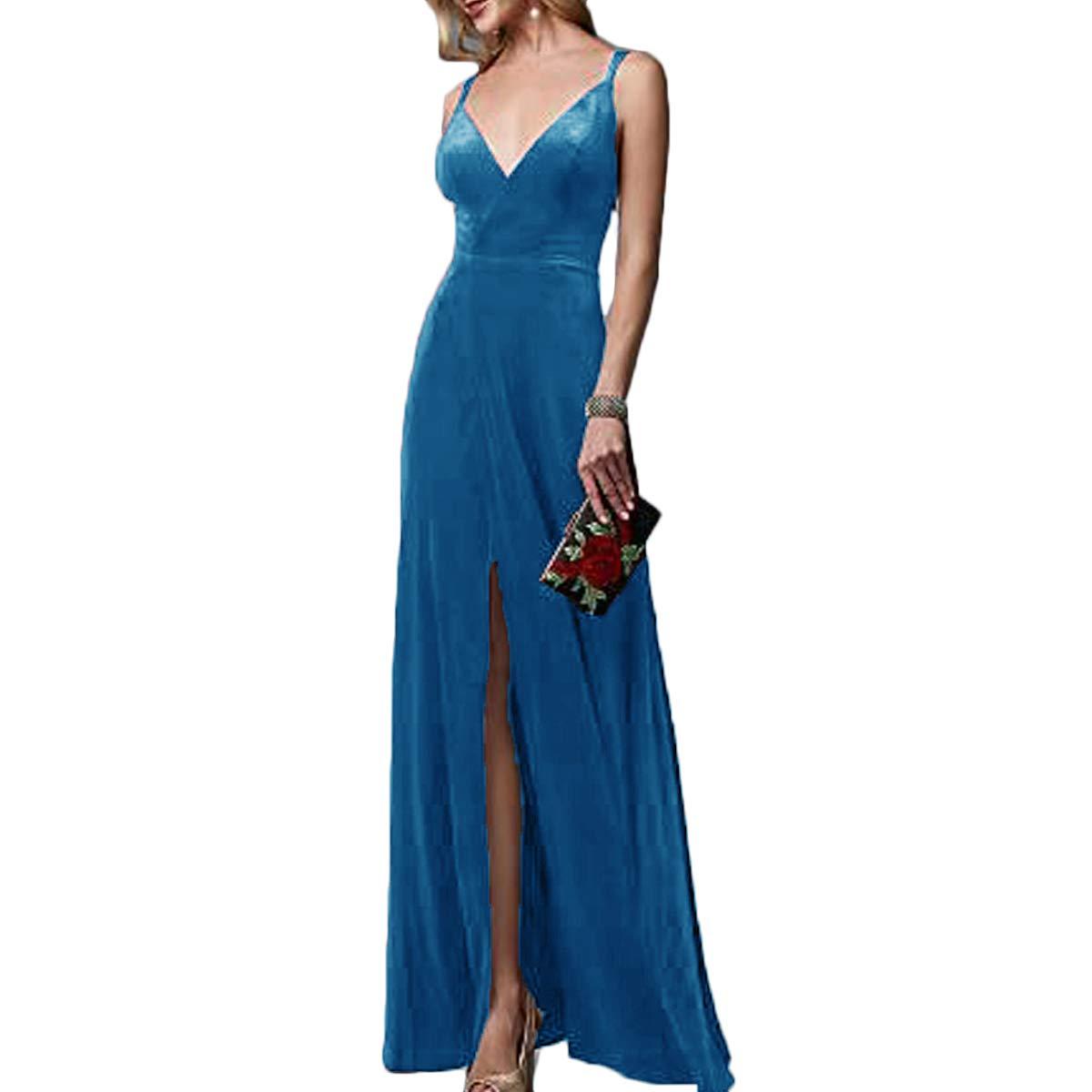 Ink bluee TTYbridal VNeck Velvet Prom Dresses Long Evening Party Gown Backless with Split Front V9