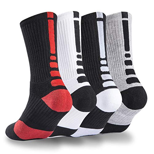 Youth Mens Basketball Arch - 4 Pack Mens Basketball Socks Cushion Athletic Long Sports Outdoor Socks Dri-fit Compression Sock 6.5-11.5 (4 Pack Basketball socks) ...