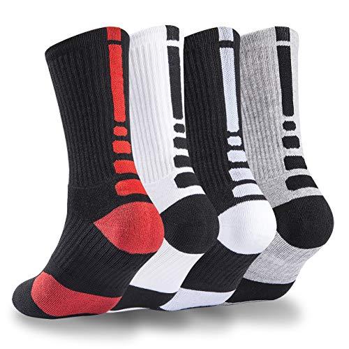 4 Pack Mens Basketball Socks Cushion Athletic Long Sports Outdoor Socks Dri-fit Compression Sock 6.5-11.5 (4 Pack Basketball socks) ...