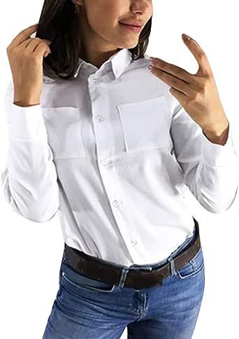 Camisas Mujer Tallas Grandes, Moda Camiseta sólida Mujer chifón Blusas de Oficina de Manga Larga Lisa de Mujer Elegantes de Vestir Fiesta Camisetas Chica: Amazon.es: Ropa y accesorios