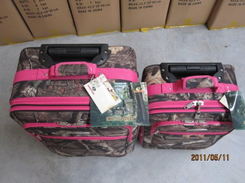 Explorer Hunting Luggage Travel Bag Mossy Oak -Realtree Outdoor Like- Hunting Camo Heavy Duty Rolling Duffel Bag with Pulling Handle Wheels with Adjustable Removable (MossyoakPinkL090-3) by Explorer products (Image #3)