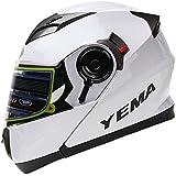 Yema Helmet YM-925 Dual Visor Modular Flip up Motorcycle Helmet-White,X-Large