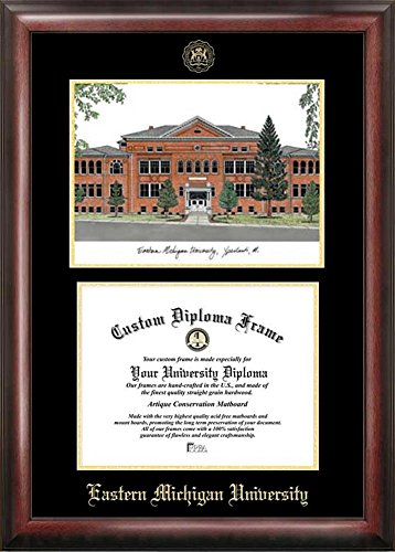Eastern Michigan University Diploma Frame with Limited Edition Lithograph