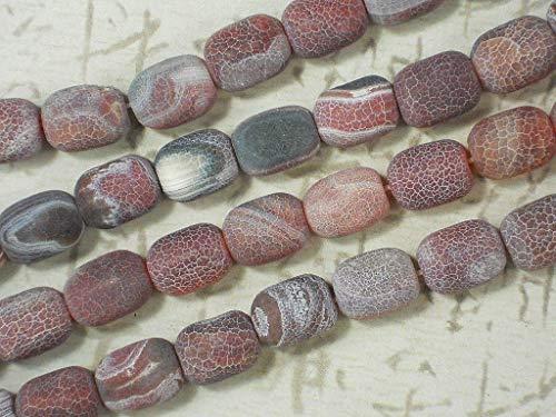 - 28 Agate Frosted Barrel Beads 15mm Rose Carnelian Crackle Matte Gemstone