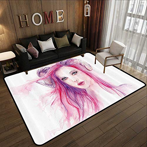 Durable Rubber Floor Mat,Gothic Decor,Sexy Grotesque Girl with Hair and Horns Made Color Effects Devil Paint Print,Pink Purple 47