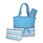 Ever Moda Elephant Print Quilted Diaper Bag (Blue)