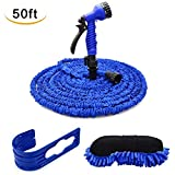 CarBoss All New 50ft Garden Hose, 50 Feet Expandable Water Hose Set, Extra Strong Stretch Material with Plastic Connectors, Double Latex Core, 7 Way Pattern Spray Nozzle And High Pressure