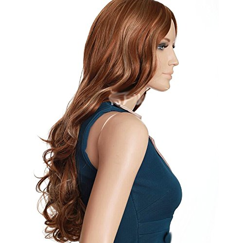 HSG elegant lady center part wigs brown blonde mixed highlight wigs European long curly wavy wigs (Long Ginger Wig)