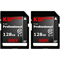 Komputerbay 2 PACK - 128GB SDXC Secure Digital Extended Capacity Speed Class 10 600X UHS-I Ultra High Speed Flash Memory Card 40MB/s Write 90MB/s Read 128 GB