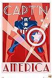 Captain America - Marvel Comics Poster / Print (Retro Art Deco Design) (CAPT'N AMERICA) (Size: 24'' x 36'')