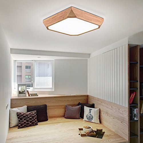 GQLB Lámpara de techo salón lámpara de techo de madera luz ...