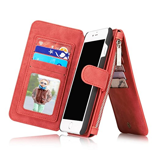 Genuine Vegan Leather Multi-Function Wallet Case, Folio Magnetic Closure Detachable [RFID Protection Card Slots+Kickstand] Retro Cover Purse for iPhone 7 Plus/8 Plus 5.5-inch (7 Plus/8 Plus, Red)