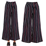Farjing Pants Clearance Sale Fashion Women High Waist Drawstring Stripy Straight Ankle-Length Loose Pants(S,Red