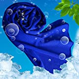 USBNOVEL Cooling Towel, Cooliing Towels Cold for Instant Chilling Relief Neck Wrap,Ice Towel for Sports Outdoors Fitness(40'x12') (Dark Bule)