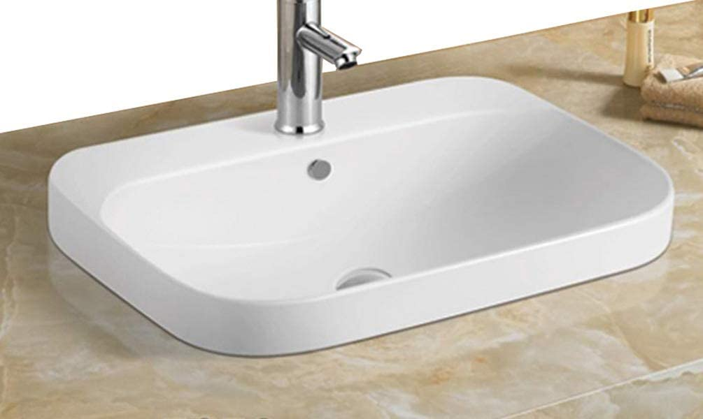 Elimax s SR-78195 D03 Bathroom Semi-Recessed Ceramic Porcelain Vessel Drop-in Sink Self-Rimming With Chrome Finish Pop Up Drain