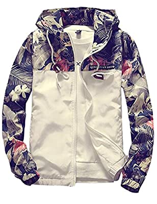 Sandbank Men's Casual Floral Print Lightweight Hooded Jacket Windbreaker Hoodie