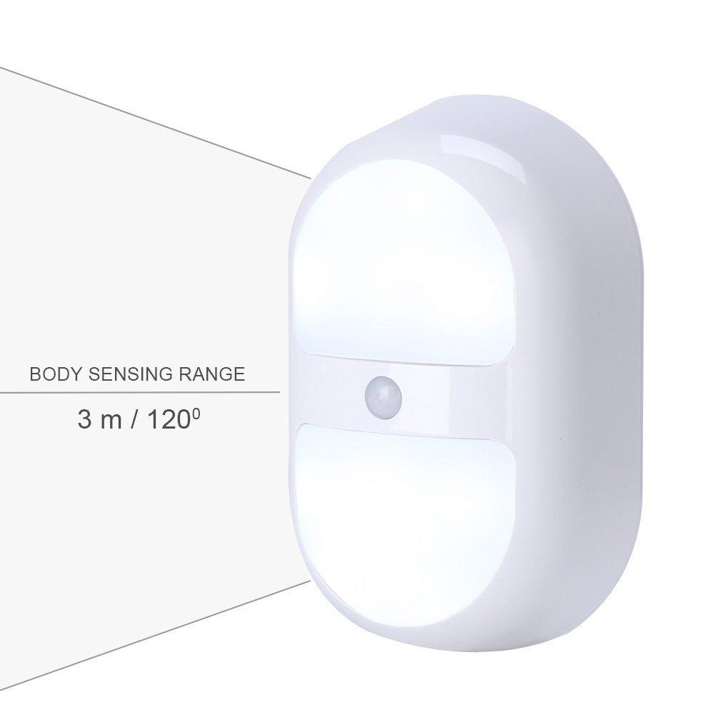 Mabor Lámpara de Noche, Luz de Noche, LED Sensor de Movimiento, Luces de Armario, Lámpara a Pilas de Pared [Clase de eficiencia energética A+++]