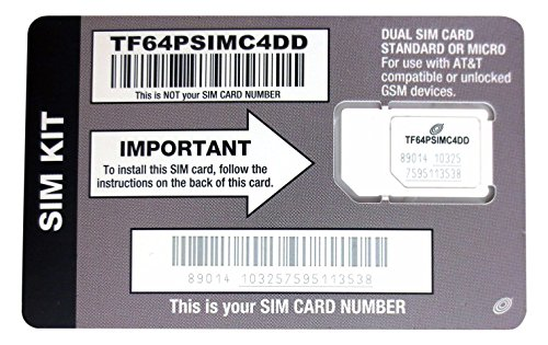 (Straight Talk AT&T Compatible SIM card for AT&T phone or Unlocked GSM Phone including iPhone 3 & 4 Samsung Galaxy S3, S4, S5 Galaxy Note 2 3 & 4 and other GSM phones)