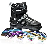 ITurnGlow Adjustable Inline Skates for Kids and Adults, Roller Skates with Featuring All Illuminating Wheels, for Girls and Boys, Men and Ladies Gray Size