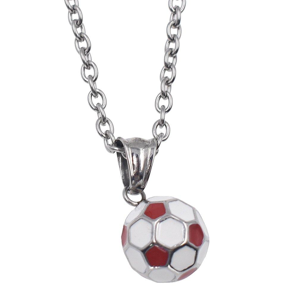 Hongma - Collar con colgante de balón de fútbol, color azul y rojo ...