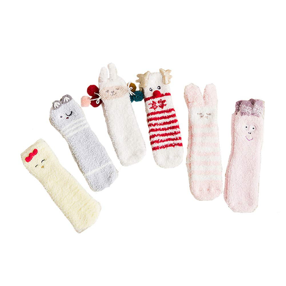 6 Pack Of Cartoon Thick Cute Winter Warm Baby Toddler Anti Slip Skid Grip Floor Socks Slipper Cotton Prewalker