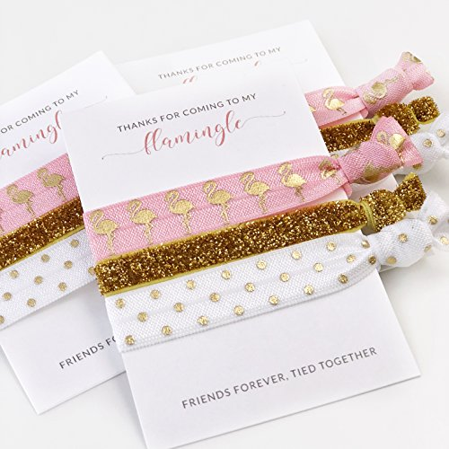 Plum Flamingo (Flamingo Party Favors (5 Pack) for Birthday, Baby or Bridal Shower, Bachelorette Hair Ties)