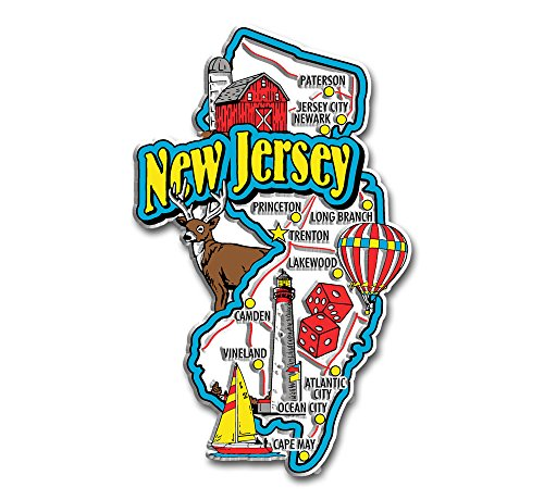 State Jersey Map New (New Jersey State Jumbo Map Magnet)