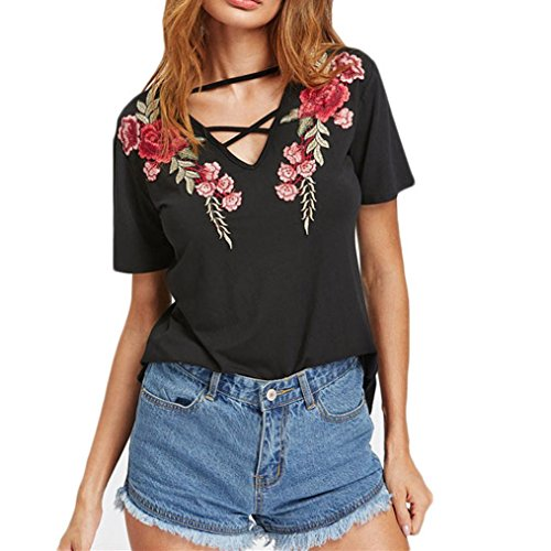 Skirt Silk Silhouettes (HOT SALE !Women's Sexy Cross Front Tops Floral Embroidered Short Sleeve T Shirt Blouse (L, Black))
