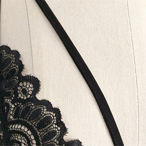 SKY Mujeres Encaje Floral Bra Bustier Crop Top Cami Unpadded Tanque Sujetador de encaje Negro